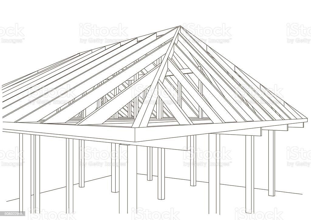 Linear Architektonische Skizze Holzrahmenhaus Stock Vektor Art und ...
