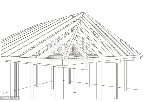 Linear architectural sketch wood frame house