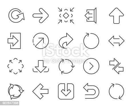 Linear Arrow icons. Set of Download, Synchronize and Recycle signs. Undo, Refresh and Login symbols. Sign out, Next and Upload. Universal Arrow elements. Quality design elements. Editable stroke