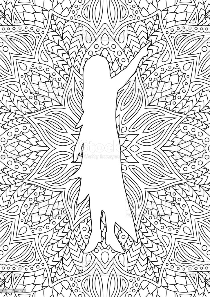 Beautiful coloring book page with woman white silhouette on detailed...