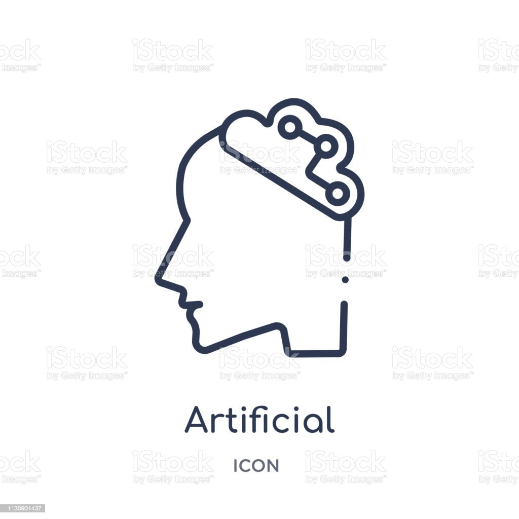 Linear artificial intelligence icon from Artifical intelligence outline collection. Thin line artificial intelligence vector isolated on white background. artificial intelligence trendy illustration vector art illustration