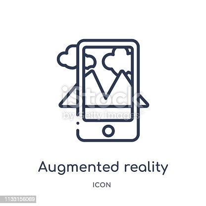 istock Linear augmented reality icon from Future technology outline collection. Thin line augmented reality icon isolated on white background. augmented reality trendy illustration 1133156069
