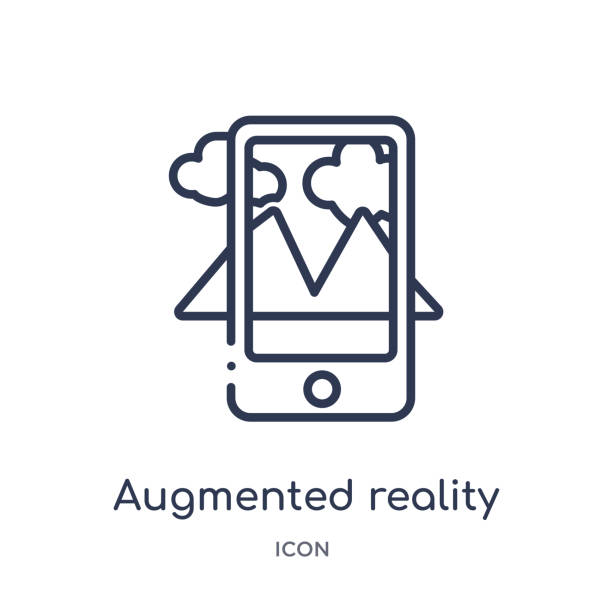 Linear augmented reality icon from Future technology outline collection. Thin line augmented reality icon isolated on white background. augmented reality trendy illustration Linear augmented reality icon from Future technology outline collection. Thin line augmented reality icon isolated on white background. augmented reality trendy illustration augmented reality stock illustrations