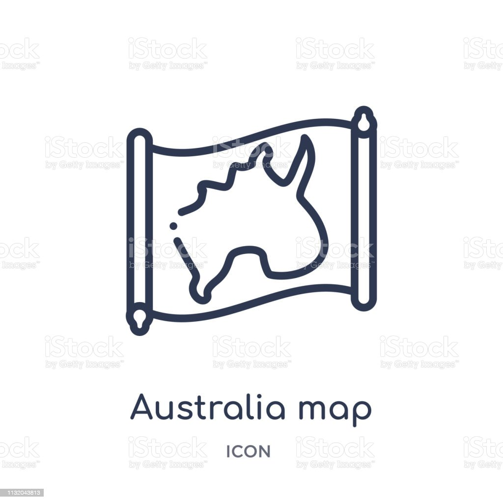 Australia Map Icon.Linear Australia Map Icon From Countrymaps Outline Collection Thin