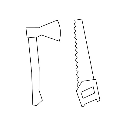 Linear ax and saw icon. Can be used as a sticker, symbol or sign. Outline saw and axe for hiking, to chop and saw.