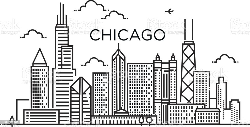 Linear banner of Chicago city. Line art. vector art illustration