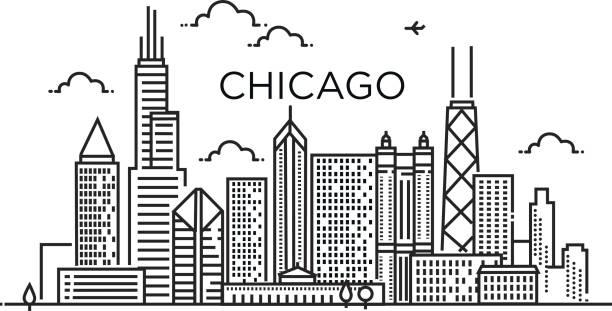 Linear banner of Chicago city. Line art. Linear banner of ChLinear Chicago City Silhouette with Typographic Designicago city. Line art. chicago stock illustrations