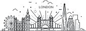 istock Linear banner of London city. 838550772