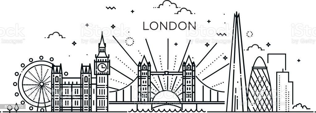 Linear banner of London city. vector art illustration