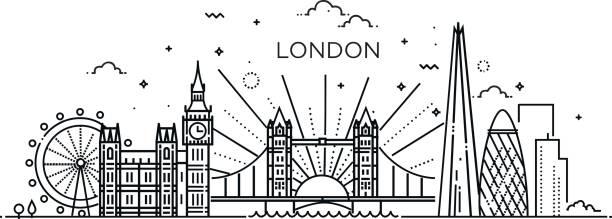 ilustraciones, imágenes clip art, dibujos animados e iconos de stock de bandera lineal de la ciudad de londres. - viaje a reino unido