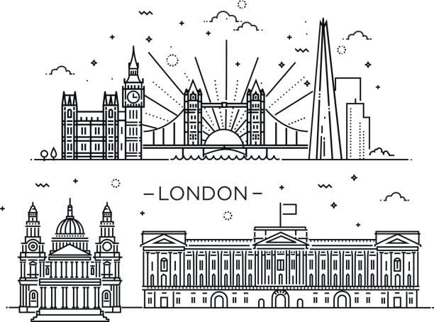 ilustrações de stock, clip art, desenhos animados e ícones de linear banner of london city. - londres