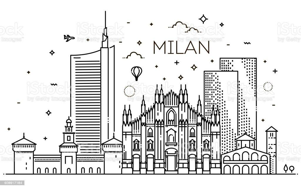 Lineare Banner der Stadt Mailand – Vektorgrafik