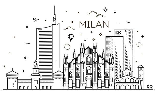 illustrazioni stock, clip art, cartoni animati e icone di tendenza di linear banner of milan city - milan