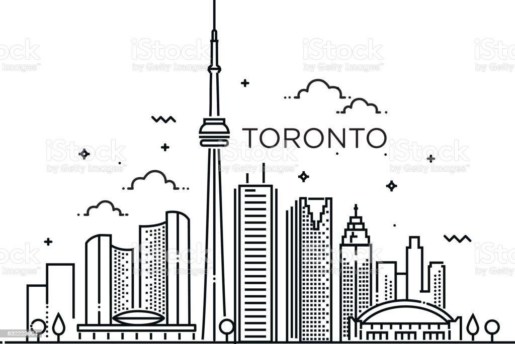 Linear banner of Toronto. Line art. vector art illustration