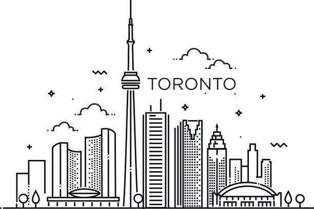 Linear banner of Toronto. Line art. vector art illustration