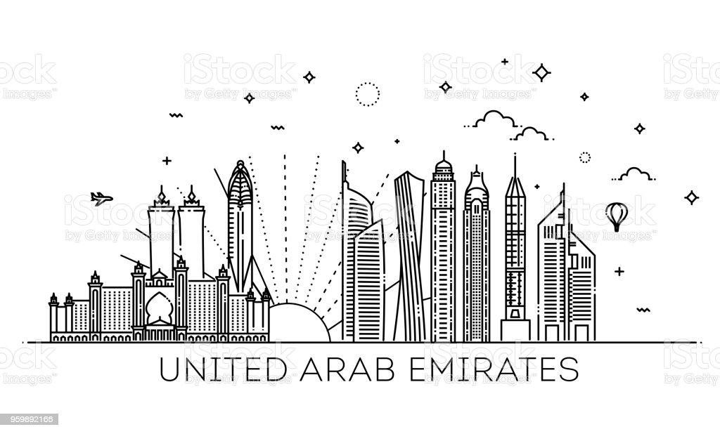 Lineare Banner der Vereinigten Arabischen Emirate – Vektorgrafik