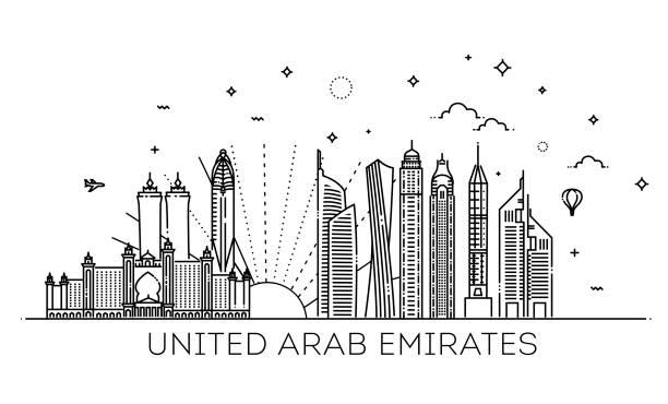 birleşik arap emirlikleri doğrusal bayrağı - abu dhabi stock illustrations