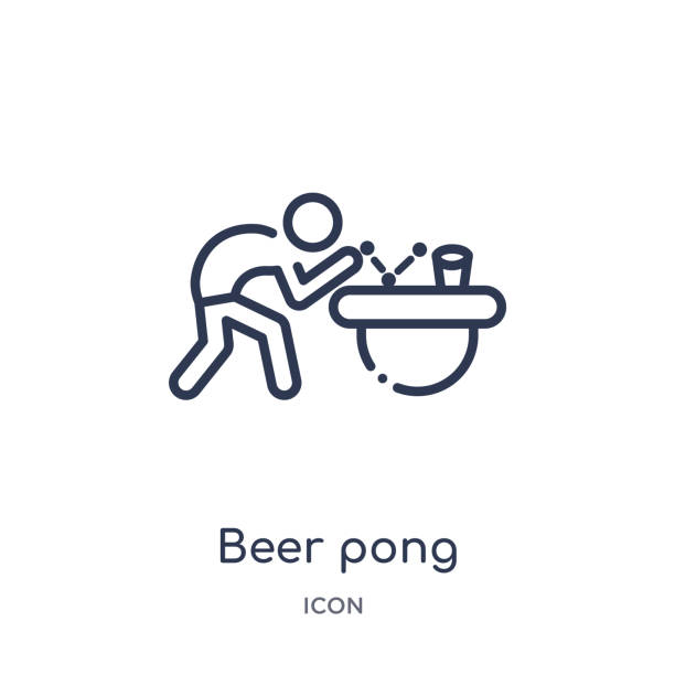 stockillustraties, clipart, cartoons en iconen met lineair bier pong icoon van activiteit en hobby outline collectie. dunne lijn bier pong vector geïsoleerd op witte achtergrond. bier pong trendy illustratie - beirut