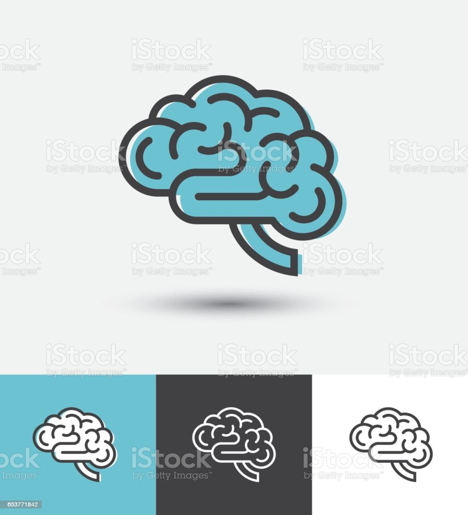 Linear brain icon vector art illustration