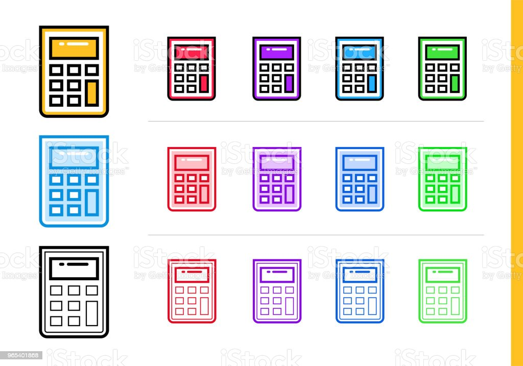 Linear calculator icon for startup business in different colors. Vector elements for website, mobile application royalty-free linear calculator icon for startup business in different colors vector elements for website mobile application stock vector art & more images of business