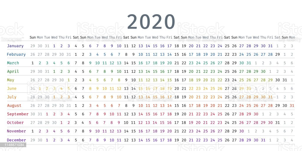 Calendario Diario 2020.Ilustracion De Calendario Lineal 2020 Ilustracion Vectorial