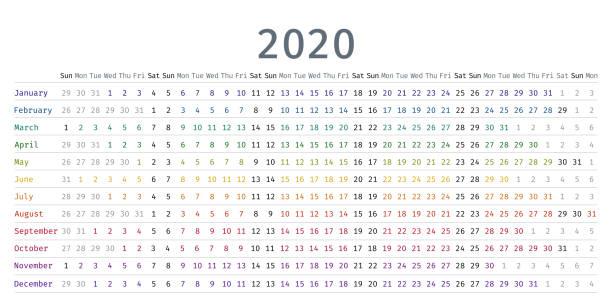 doğrusal takvim 2020. vektör illustration. şablon günlüğü planlayıcısı. - yıllık olay stock illustrations