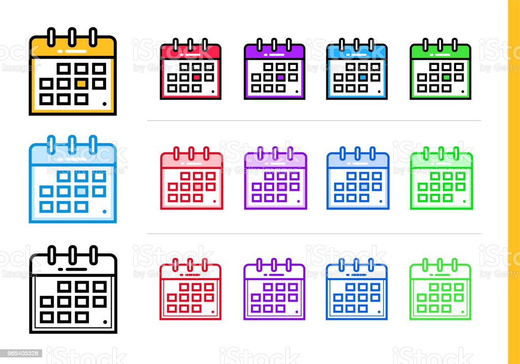 Linear calendar icon for startup business in different colors. Vector elements for website, mobile application royalty-free linear calendar icon for startup business in different colors vector elements for website mobile application stock vector art & more images of business