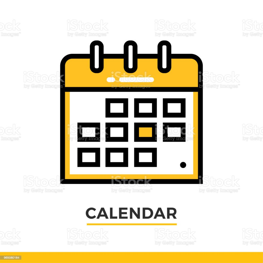 Linear calendar icon. Pictogram in outline style. Vector modern flat design element for mobile application and web design. royalty-free linear calendar icon pictogram in outline style vector modern flat design element for mobile application and web design stock vector art & more images of business