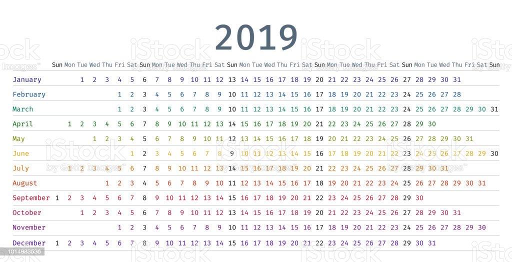 Calendario Lineal.Ilustracion De Calendario Lineal De 2019 En Estilo Sencillo
