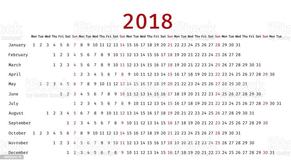 Calendario Lineal.Ilustracion De Calendario Lineal De 2018 En Estilo Sencillo