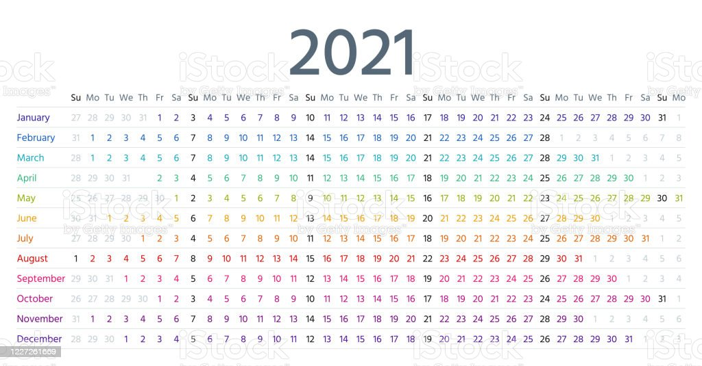 2021 Linear Calendar Vector Illustration Yearly Template ...