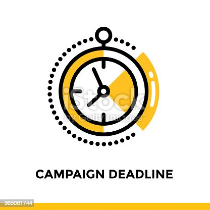Linear Campaign Deadline Icon For Startup Business Pictogram In Outline Style Vector Flat Line Icon Suitable For Mobile Apps Websites And Presentation Stock Vector Art & More Images of Business 965081744