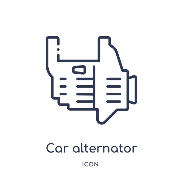 Linear car alternator icon from Car parts outline collection. Thin line car alternator vector isolated on white background. car alternator trendy illustration vector art illustration