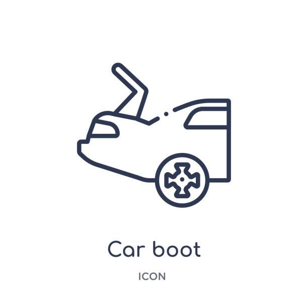 lineares kofferraum-symbol aus der sammlung von autoteilen. dünne linie auto kofferraumvektor auf weißem hintergrund isoliert. kofferraum trendiert illustration - kaminhaube stock-grafiken, -clipart, -cartoons und -symbole