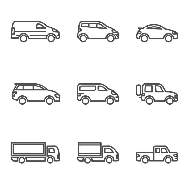 Linear Car Icon Linear car icon with outline and different kind of car touring car stock illustrations