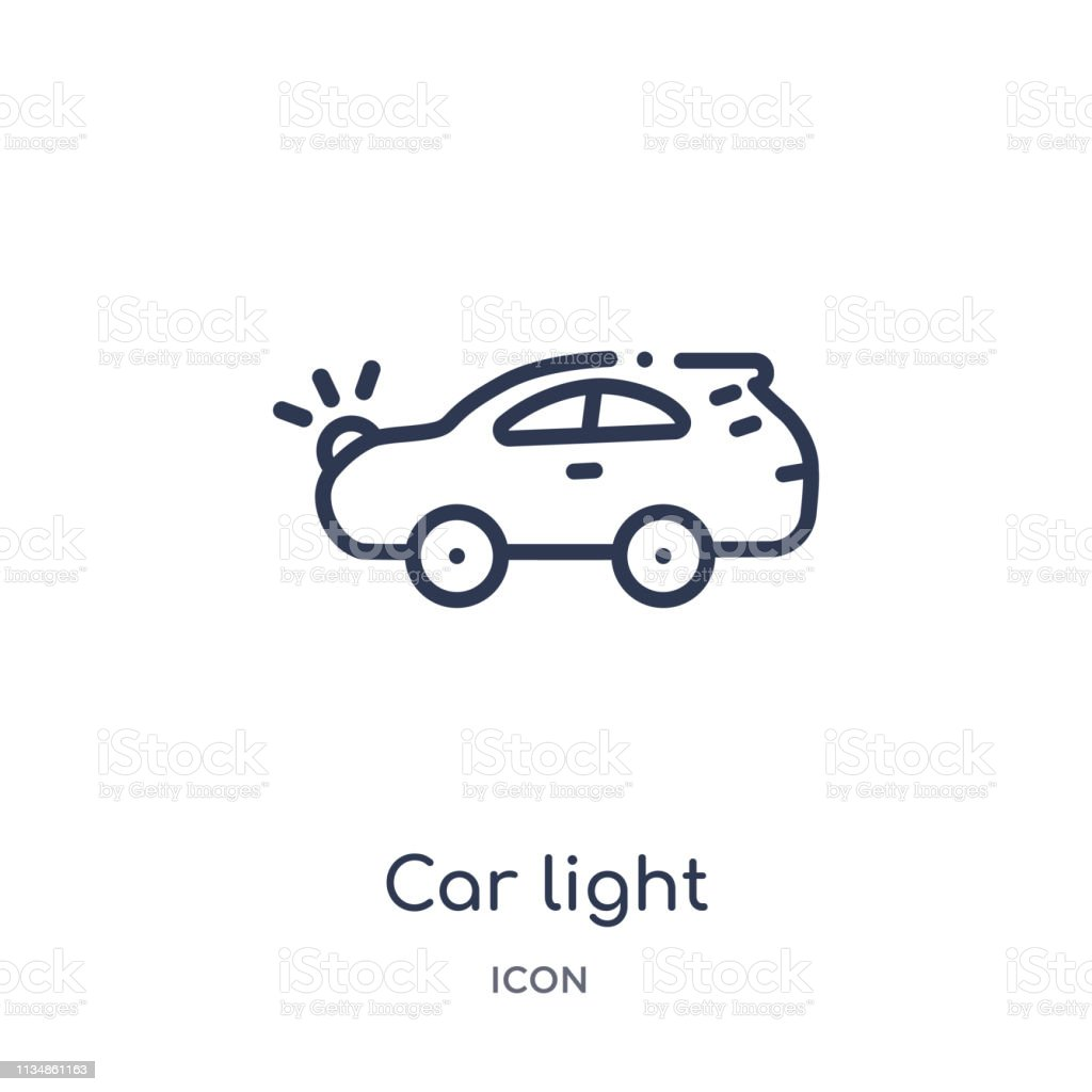 Linear car light icon from Mechanicons outline collection. Thin line...