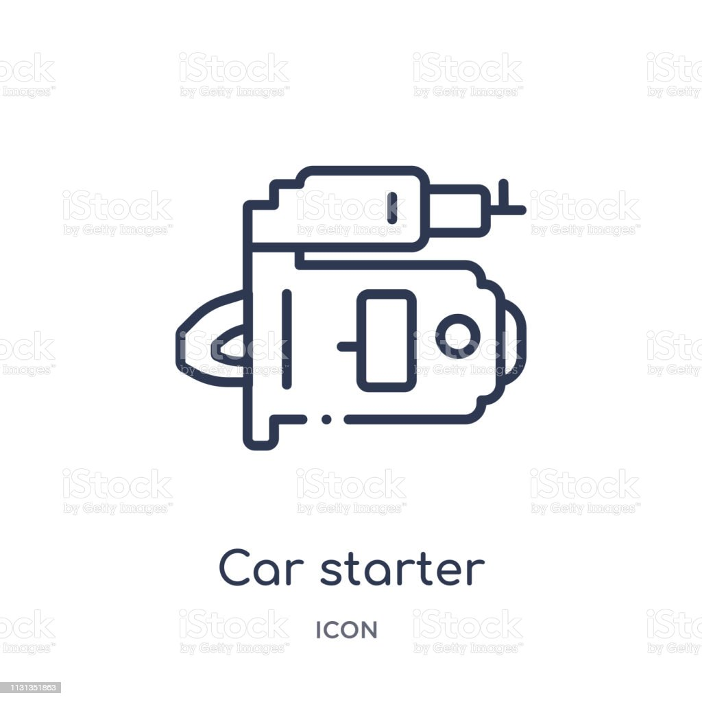 linear car starter icon from car parts outline collection  thin line car  starter vector isolated