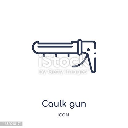 Linear caulk gun icon from Construction and tools outline collection. Thin line caulk gun icon isolated on white background. caulk gun trendy illustration