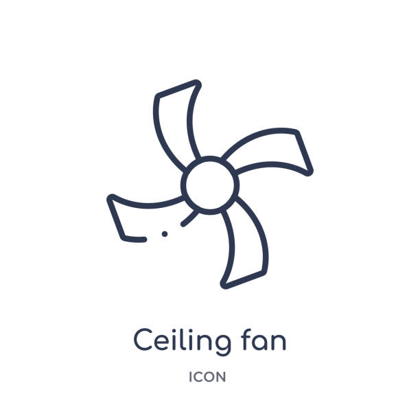 Linear ceiling fan icon from Electronic devices outline collection. Thin line ceiling fan vector isolated on white background. ceiling fan trendy illustration Linear ceiling fan icon from Electronic devices outline collection. Thin line ceiling fan vector isolated on white background. ceiling fan trendy illustration ceiling fan stock illustrations