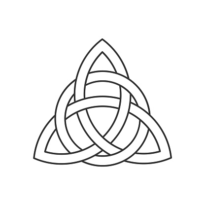 Linear Celtic trinity knot. Triquetra symbol interlaced with circle. Ancient ornament symbolizing eternity.