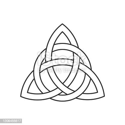 istock Linear Celtic trinity knot. Triquetra symbol interlaced with circle. Ancient ornament symbolizing eternity. 1206455517