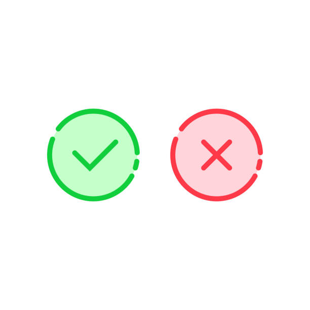 linear check mark icon like tick and cross linear check mark icon like tick and cross. concept of approve or disapprove round button and consumer ui. simple flat trend modern thin line graphic illustration design on white background imitation stock illustrations