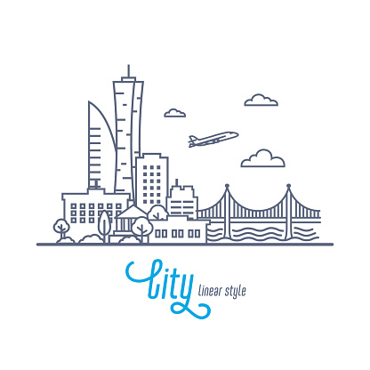 Linear Cityscape with bridge and flying airplane. Outline style vector illustration on white background