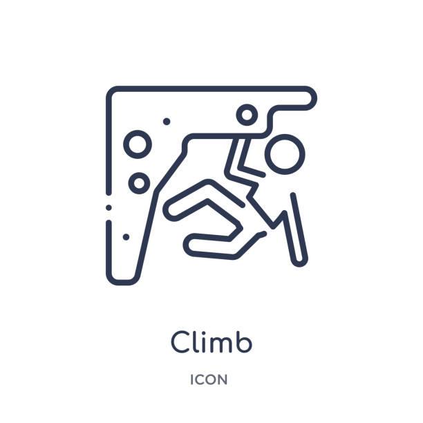 ilustrações, clipart, desenhos animados e ícones de ícone linear da escalada da coleção livre do esboço do tempo. linha fina vetor da escalada isolado no fundo branco. escalar ilustração na moda - escalada em rocha