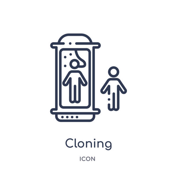 Linear cloning icon from Future technology outline collection. Thin line cloning icon isolated on white background. cloning trendy illustration vector art illustration