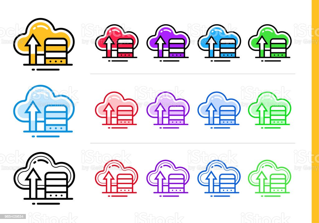 Linear cloud storage icon for startup business in different colors. Vector elements for website, mobile application royalty-free linear cloud storage icon for startup business in different colors vector elements for website mobile application stock illustration - download image now