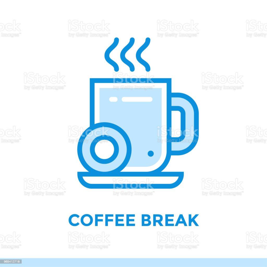 새로운 사업에 대 한 선형 커피 브레이크 아이콘입니다. 개요 스타일에서 그림입니다. 벡터 현대 평면 아이콘 인쇄, 프레 젠 테이 션 및 웹 사이트에 적합 - 로열티 프리 0명 벡터 아트