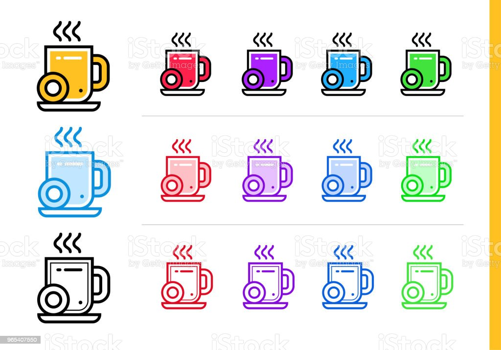 Linear coffee break icon for startup business in different colors. Vector elements suitable for website, mobile application and presentation - Grafika wektorowa royalty-free (Bez ludzi)