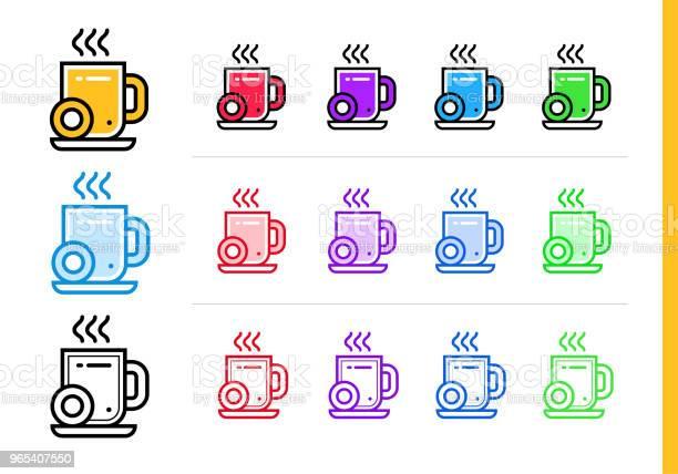 Liniowa Ikona Przerwy Na Kawę Dla Startupu W Różnych Kolorach Elementy Wektorowe Odpowiednie Do Strony Internetowej Aplikacji Mobilnej I Prezentacji - Stockowe grafiki wektorowe i więcej obrazów Bez ludzi