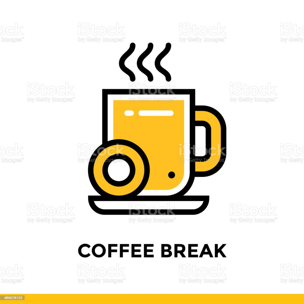 Linear coffee break icon for startup business. Pictogram in outline style. Vector flat line icon suitable for mobile apps, websites  and presentation royalty-free linear coffee break icon for startup business pictogram in outline style vector flat line icon suitable for mobile apps websites and presentation stock vector art & more images of business